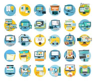 Set of Web Design Icon Flat Concept