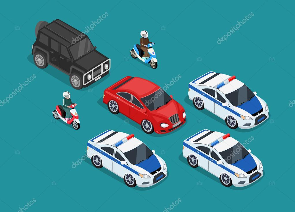 Polizei Motorcade Auto Wohnung Entwurf — Stockvektor © robuart ...