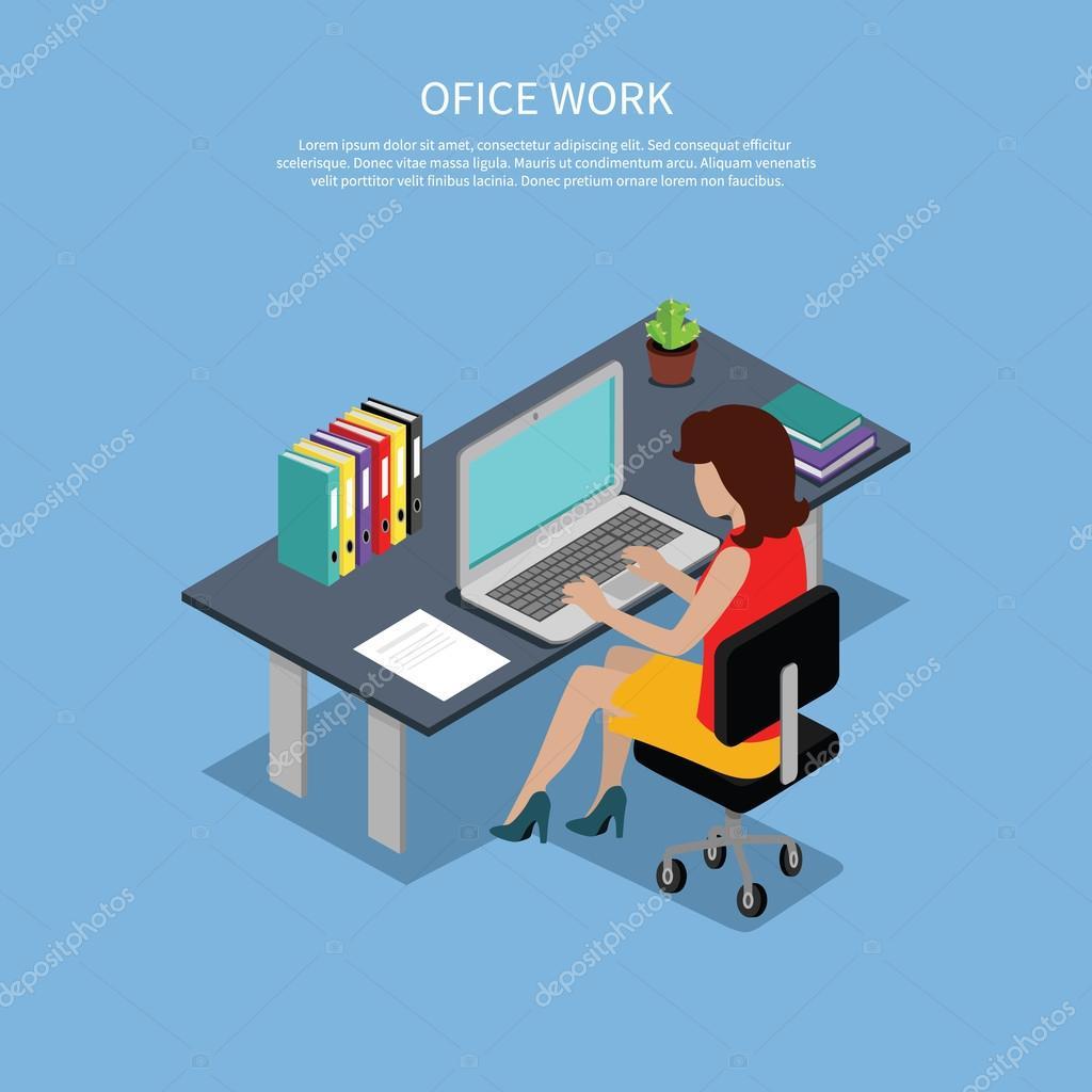 Isometric Woman Office Work Interior Design