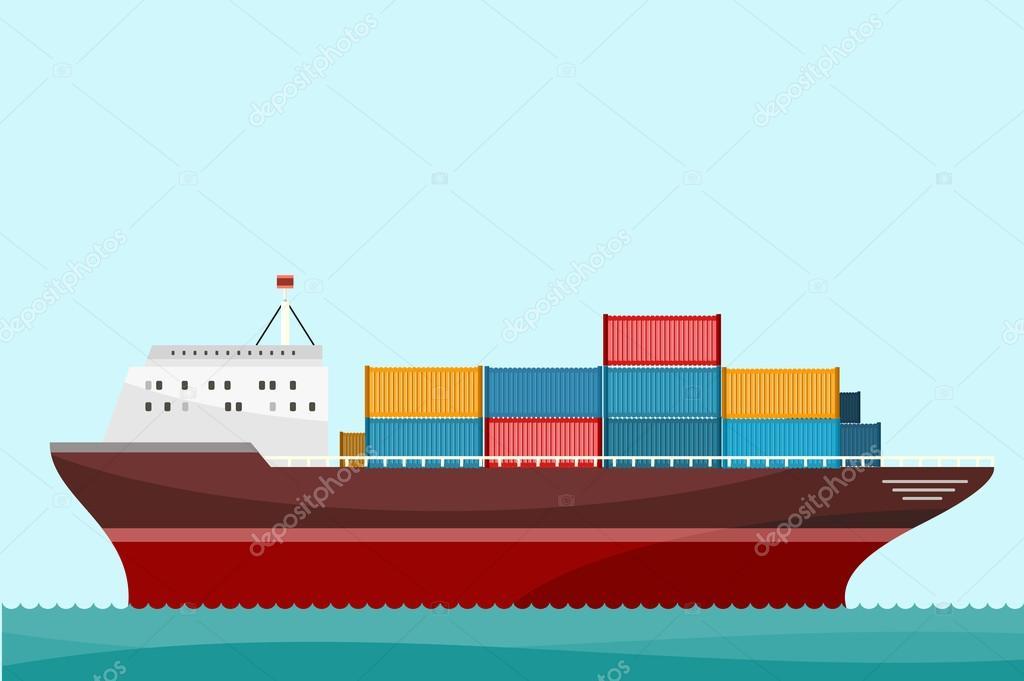 Contenedores de barco de carga de env o vector de stock robuart 105266078 - Contenedores de barco ...