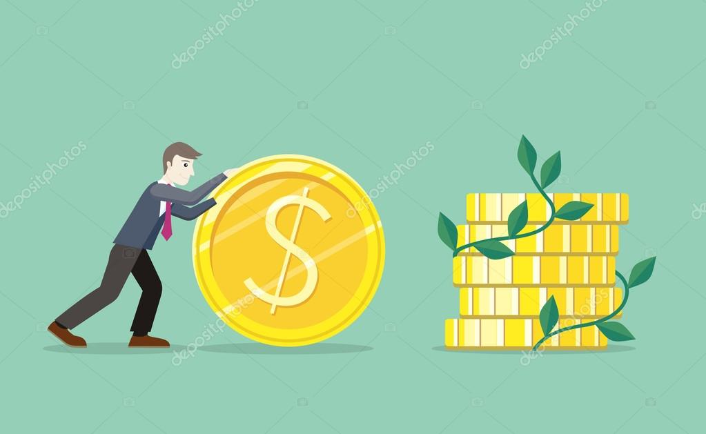 Time For Invest Man With Gold Coin Stock Vector Robuart 106081076
