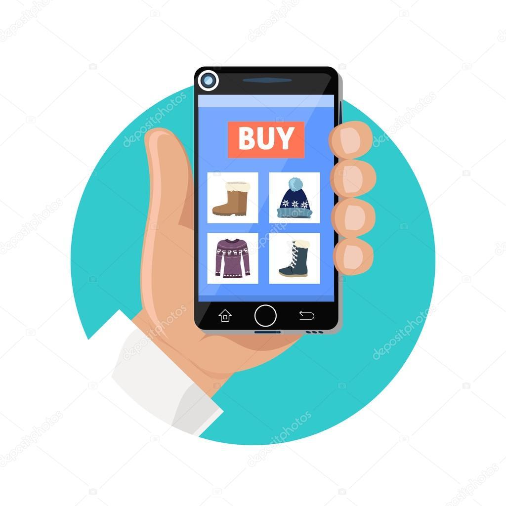 43da58615 Ícone da loja online plana. Venda e compra. Comprar na loja de internet.  Escolha um produto com o smartphone
