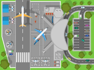 Airport a Top View. Terminal and Aircraft