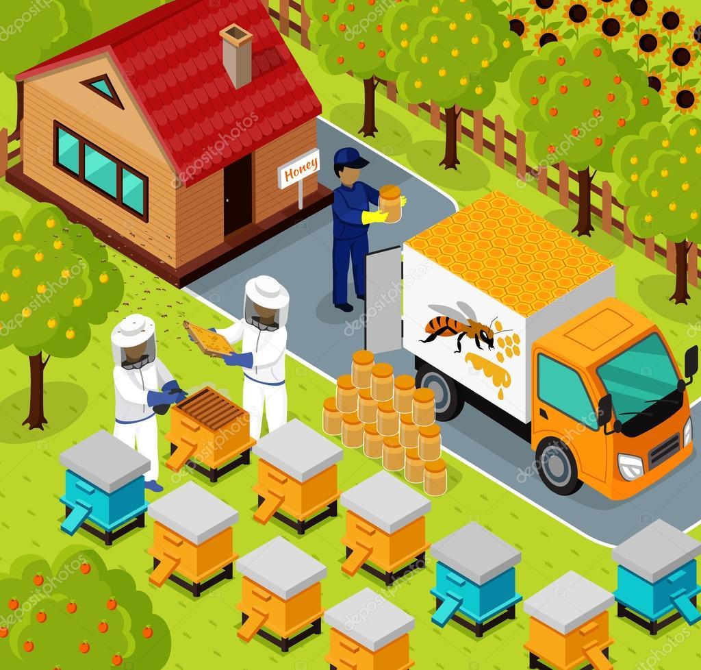 Isometric Honey Bee Apiary Beekeeper Design Flat