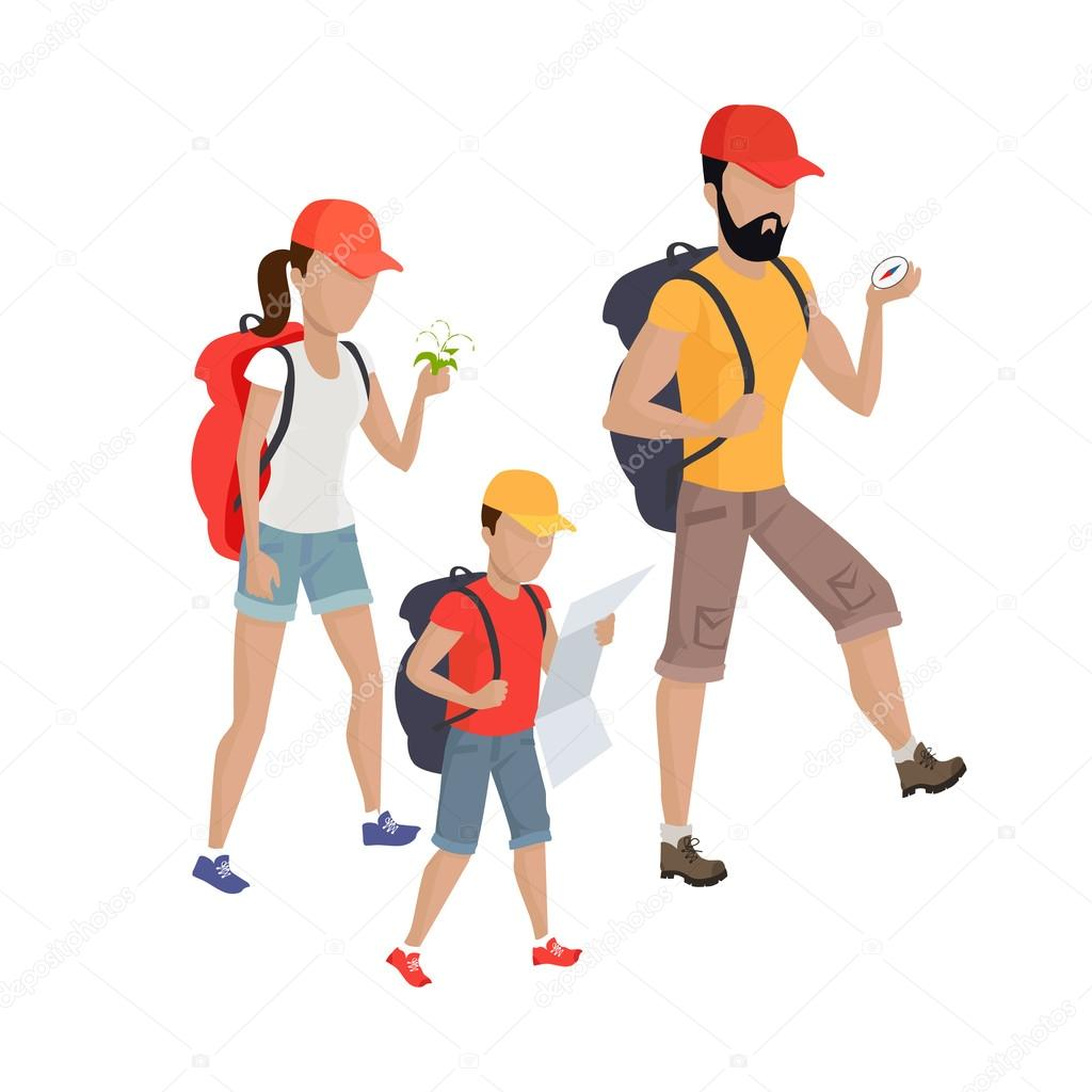 family hiking concept illustration � stock vector