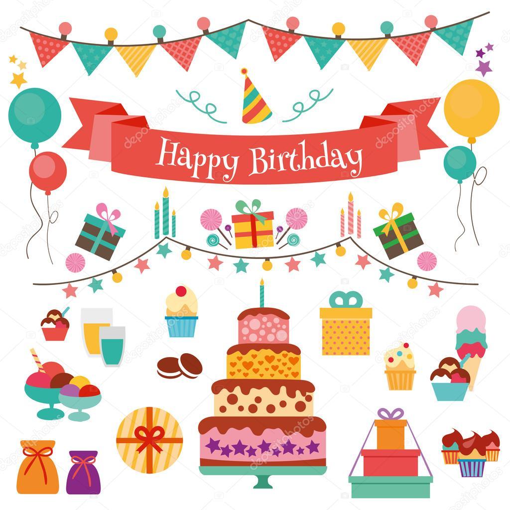 Happy birthday vector flat design icons set vetor de stock happy birthday vector flat design icons set vetor de stock stopboris Gallery