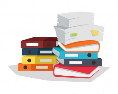 Stack of Documents Vector Flat Design on White.
