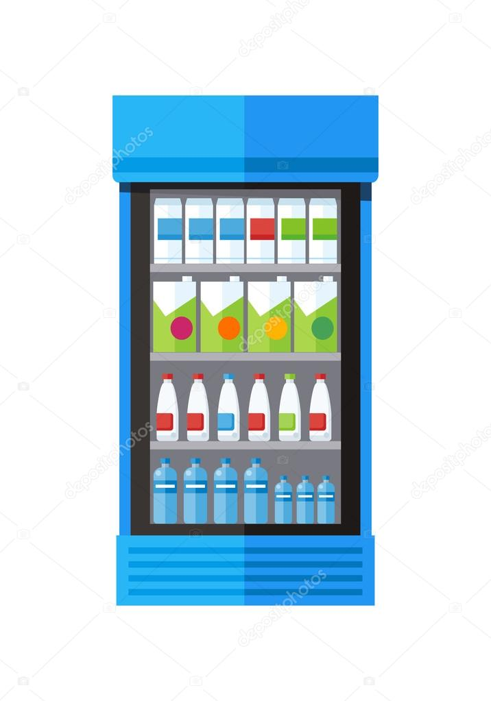 Schaufenster Kühlschrank Getränke — Stockvektor © robuart #117917288