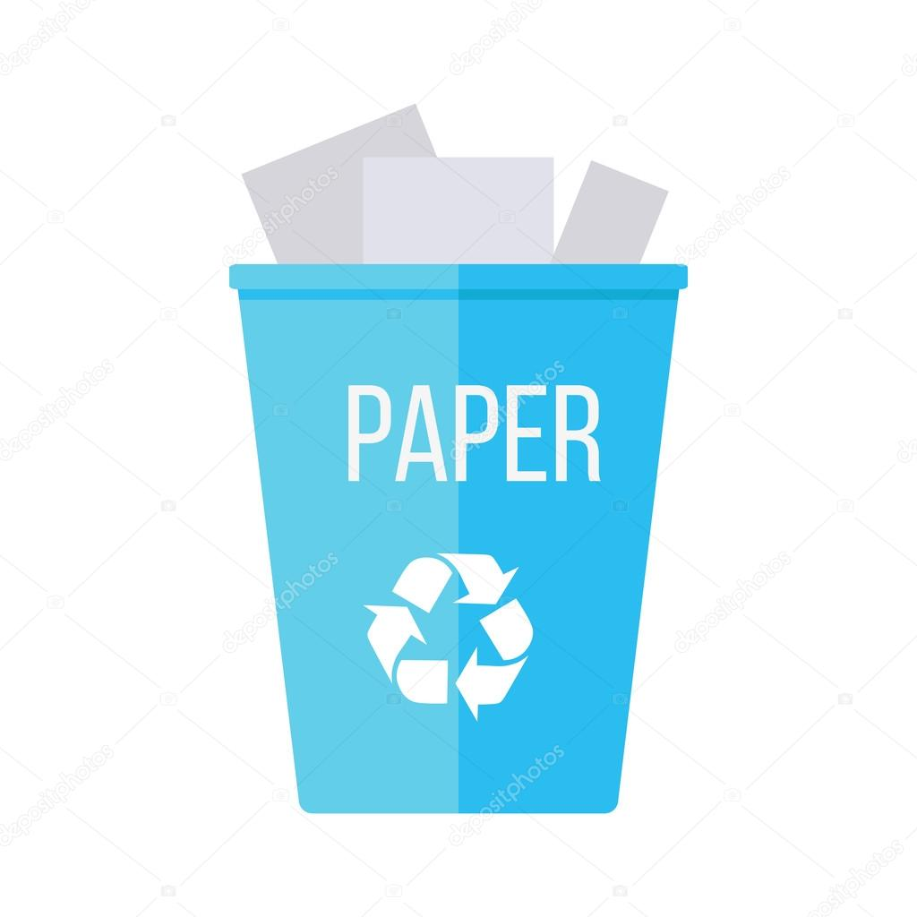 Paper Shredder Papelera De Basura De Reciclaje Azul Con Papel Vector De