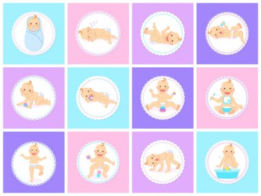 Cartoon set with cute little babies in diaper. Happy toddler plays with toy, birthday of baby, child learning to walk, baby smiling, child sits on potty, toddler crawling on the floor. Little kid icon