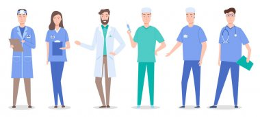 Collective of doctors and nurses characters set flat style. Medical people group icon on a white background vector illustration. Medical professional workers man and woman wearing special clothes icon