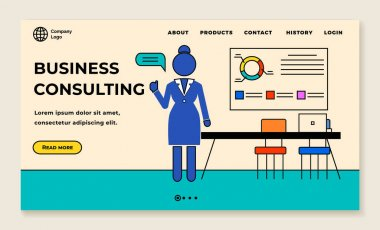 Concept of consulting services, project management and marketing research landing page template with woman consultant and charts. Provide assistance in conducting business analysis of the enterprise icon