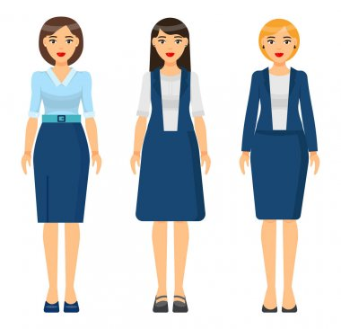 Set of vector chartoon characters. Dresscode of businesswoman. Woman wearing blue office suit, jacket and skirt. Girl wearing dress. Stylish business lady in blouse and skirt. Business person style icon