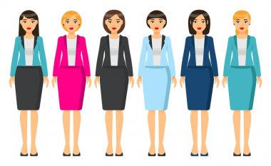 Cartoon characters. Woman brunette with short haircut wearing different clothes. Girl in business look. Businesslady wear business dress, skirt and blouse, office suit with jacket. Set of clothes icon