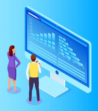 3d isometric vector illustration. Office workers looking at screen of computer with statistic, financial audit. Guy holding papers with financial plan in hand. People analysing strategy, analytics icon