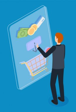 Guy in dark clothes selects and puts purchases in virtual basket. Customer journey concept