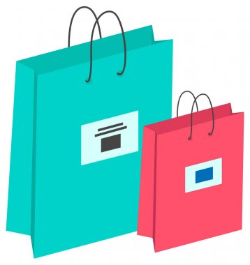 Special offer purchases, shopping bags with logo. Packages with goods isolated on the white background. Packages with low cost. Seasonal sale cartoon vector illustration for web graphic design icon