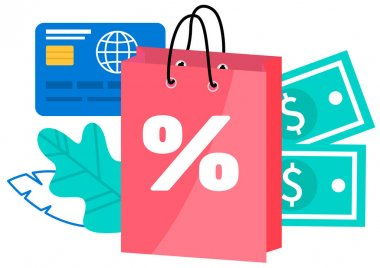 Retail bags with discount vector object. Special offer purchases with money and credit card on background. Packages with low cost. Seasonal sale isolated cartoon illustration for web graphic design icon