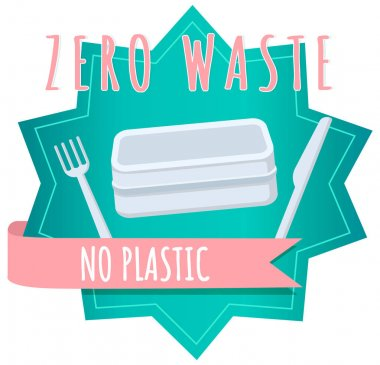 No plastic box, lunchboxe and cutlery, food container with text. Pack your launch in reusable packaging. Eco-friendly tare, zero waste concept vector illustration. Element of pollution problems icon