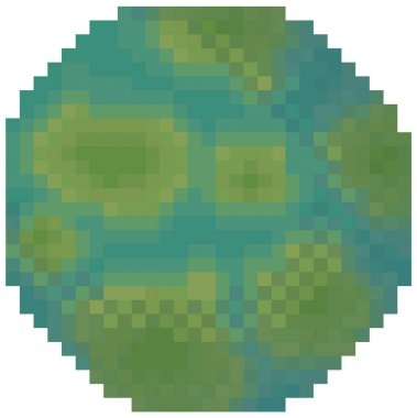 Cosmic object solar system astronomical element. Planet for pixel game about space with green spots