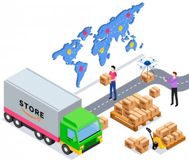 Happy selling products online. Order for delivery to customer. Online selling, e-commerce, shipping concept. Movers put boxes with parcels in truck. Loading car before shipping and delivery icon
