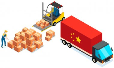 Order for delivery to customer. Online selling, e-commerce, worldwide shipping concept. Mover puts boxes with parcels into wagon. Loading car before shipping. China delivery truck vector illustration icon