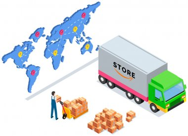 Order for delivery to customer. Online selling, e-commerce, shipping concept. Mover puts boxes with parcels in truck. Loading car before shipping and delivery. Destination map with marks as service icon