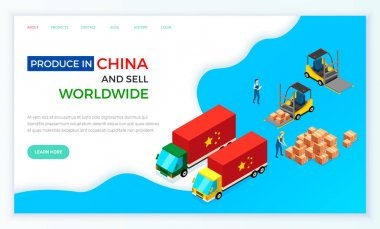 Web site on topic of online sales and purchases in China. Order for delivery to customer. Movers put boxes with parcels into wagon. People loading car before shipping. China delivery truck with orders icon