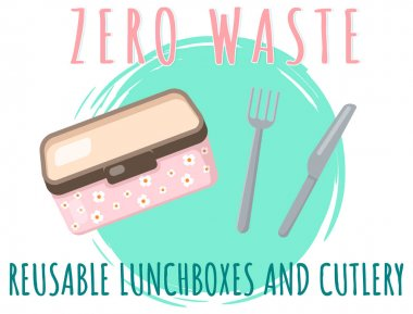 Reusable lunchboxes and cutlery, food container with text. Pack your launch in reusable packaging. Eco-friendly container, zero waste concept vector illustration. Element of pollution problems icon