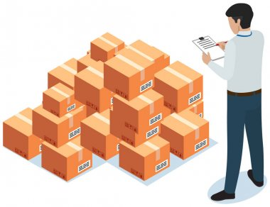 Worker counts number of boxes. Postal transportation. Man makes notes while working with parcels in warehouse. Cartoon illustration of delivery service. Cardboard parcels for shipment from china icon