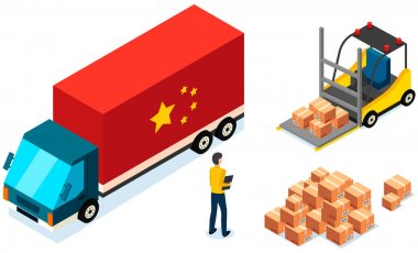 Order for delivery to customer. Online selling, e-commerce, worldwide shipping concept. Man controls process of loading car before shipping. China delivery truck. Forklift machine holding packages icon