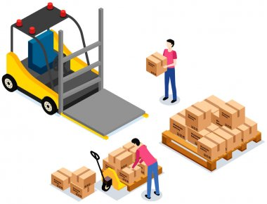 Worker loading boxes on carrier. Postal transportation. Man holding box, put it on stack with boxes. Cartoon illustration of delivery service. Cardboard parcels for shipment. Worldwide sales concept icon