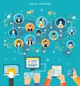 Fotografie Social-Media-Netzwerk-Anschluss-Konzept