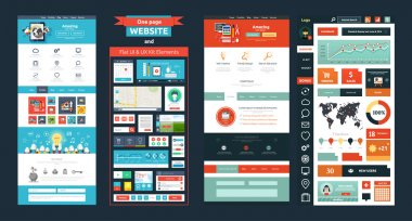 Website page template. Web design. Set of web page with icons for different websites in flat style. One page website flat ui and ux kit elements icons stock vector