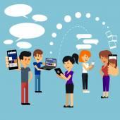 mladí lidé muž a žena pomocí technologie miniaplikace