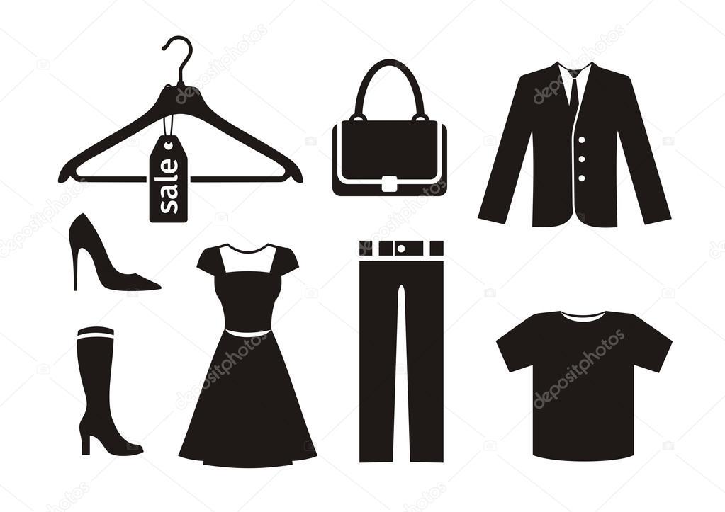 f83b023ec Conjunto de ícones de roupas na cor preta sobre fundo branco. Sapatos de  mulher calças cabide saco casaco vestem silhuetas de t-shirt — Vetor de ...