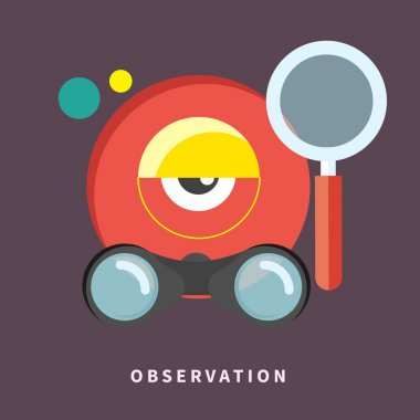 Icon in flat design for observation and monitoring