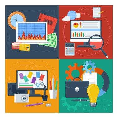 Set of concept for finance, marketing, web design