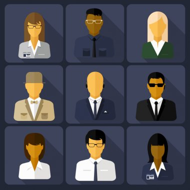 Business set of stylish avatars of woman girls and man guys