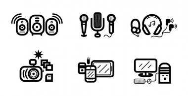 Digital devices in black colour icons set