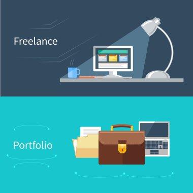 Set of flat concept for portfolio and freelance