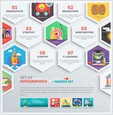 Ikony infographic headwork, strategie, nastartovat