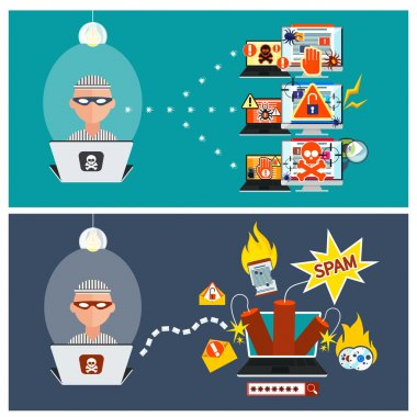 Hacker activity viruses hacking and e-mail spam