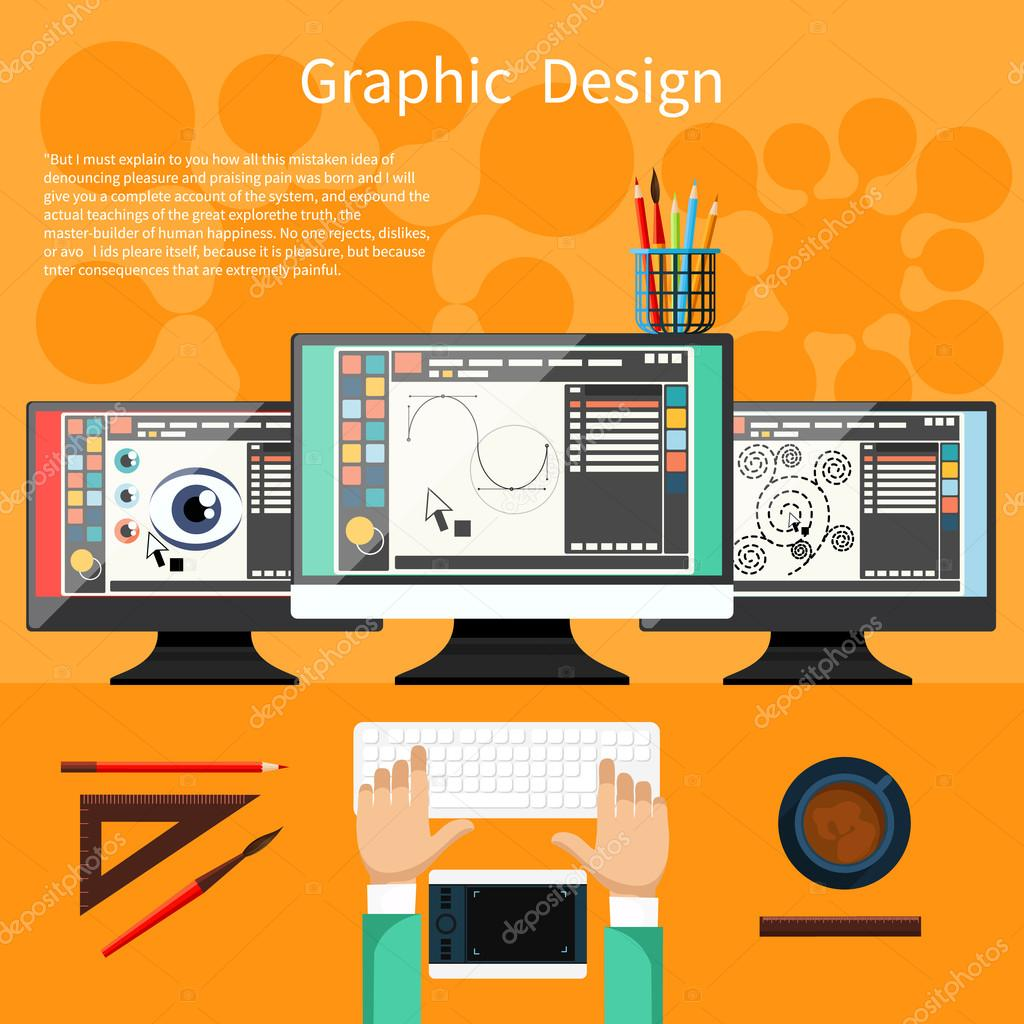 Concept For Graphic Design Designer Tools And Software In Flat With Computer Surrounded Equipment Instruments
