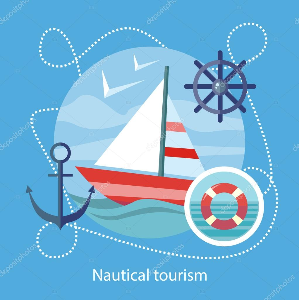 Nautical Tourism. Sailing Vessel in Blue Water