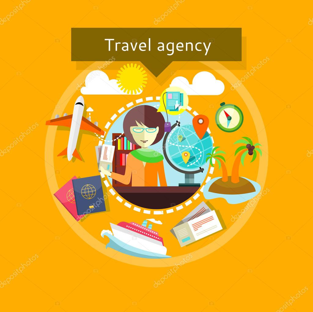Travel Agent with Tickets in Hands Types of travel — Vetores
