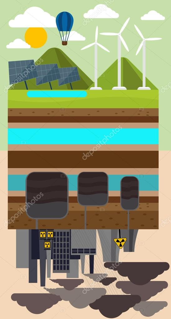 Eco Concept and Environmental Pollution by Factory