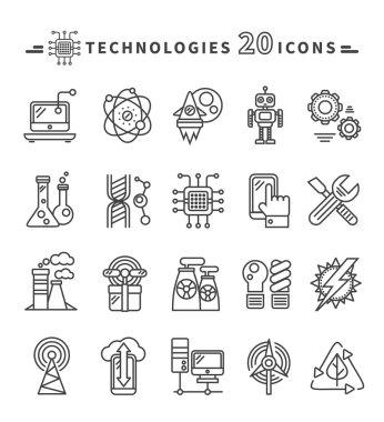 Technologies Black Icons on White Background