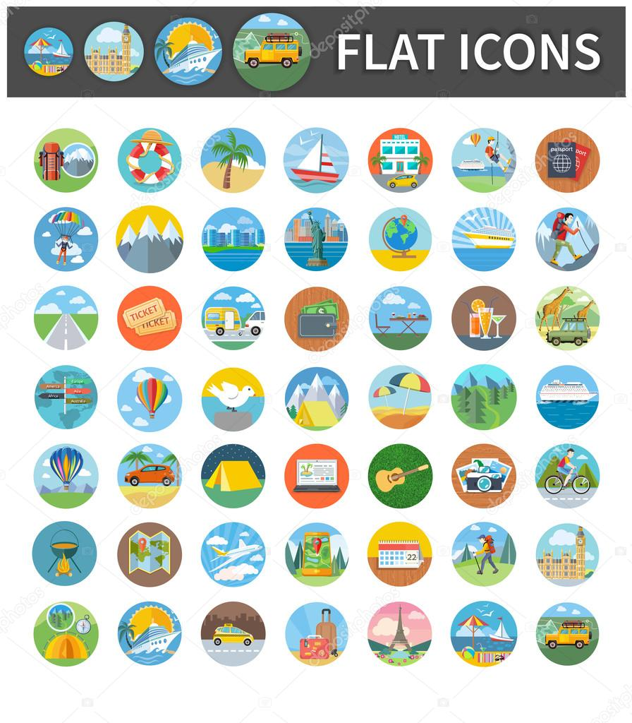 Icons of Traveling, Vacation, Tourism, Journey