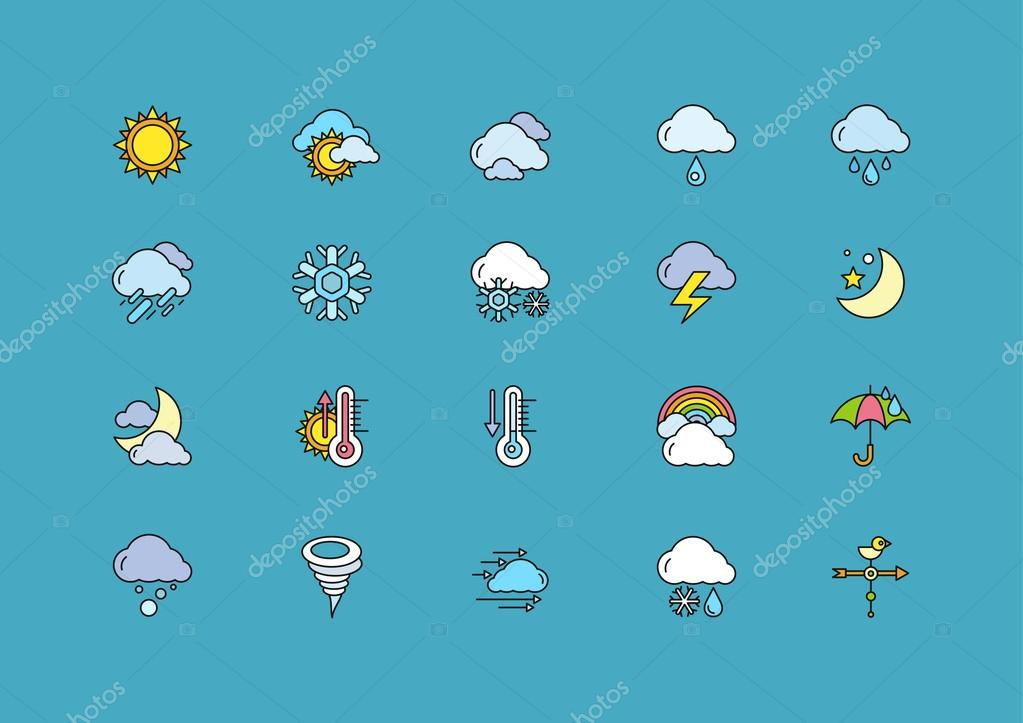 Symbols weather Set of Colorful Outline Icons